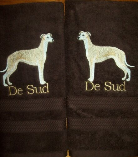 WHIPPET Dog Cute Bathroom SET OF 2 HAND TOWELS EMBROIDERED