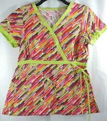 Koi Kathryn Neon Green Multicolor Abstract Tie Side Scrub Top -