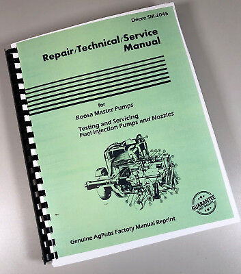 Service Manual For John Deere Db Jdb Dc Roosa Master Fuel Injection Pumps Sm2045