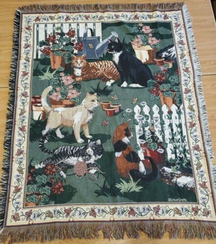 "Crown Crafts Cats In Garden Knit Throw Blanket Tapestry Cats In Garden. 51""x 42"""