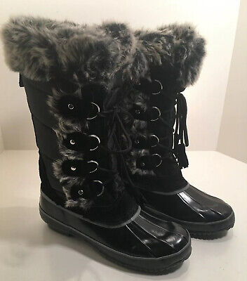 Khombu Bryce Black Women's 8 Faux Fur Suede Lace Warm Winter Snow Boots 4 Rowan