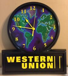 Rare 2002 Western Union Clock By Everbrite Large 18 X 16 Advertising Battery Op