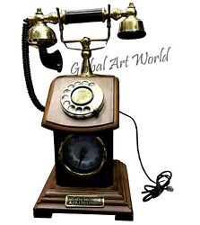 Antique Handcrafted Vintage London Rotary Style Telephone Phone + Clock HB 0150
