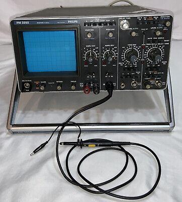 Philips Pm 3262 Portable H.f. Dual Trace Oscilloscope 5 Mvdiv 100 Mhz