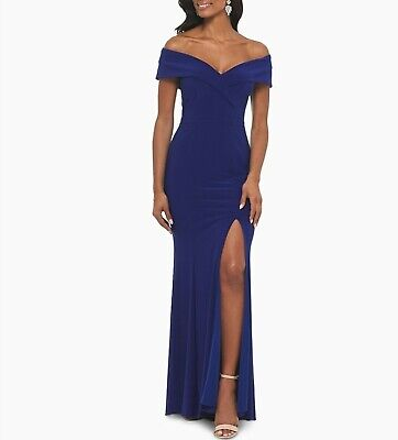 Xscape Off-The-Shoulder Slit Gown MSRP $229 Size 8 # 4NB 369 Blm