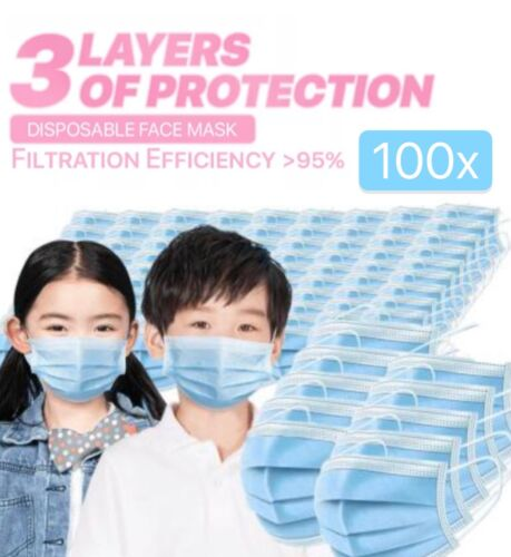 [100 PACK] Kids Face Mask Toddler Child Boys Girl Masks Disposal Pink Blue