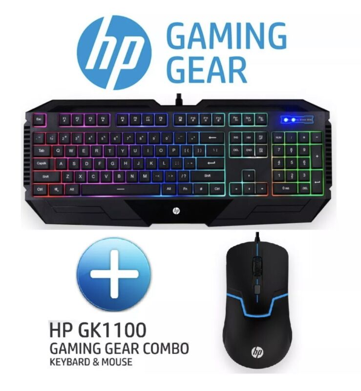 HP Wired Gaming Keyboard And Mouse combo set GK1100 English LED backlight