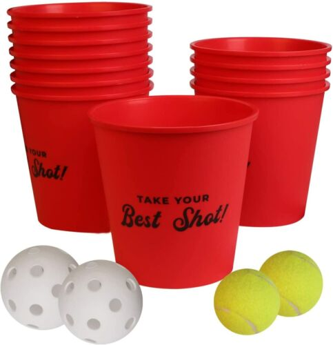 Yard Pong,Outdoor Giant Yard Games Pong Game Set,Including 12 Buckets & 4 Balls