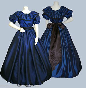 Ladies-Victorian-or-American-Civil-War-3pc-costume-fancy-dress-size-6-20-blue