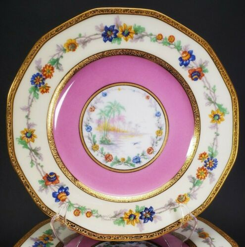 Haviland Limoges France 11 Octagonal Scenic Lake Pink Gold Dinner Plates~RARE