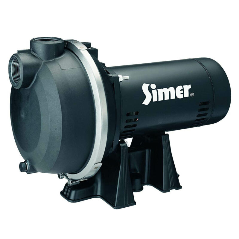 Simer 3415P 1-1/2 HP Thermoplastic Outdoor Irrigation Lawn Sprinkler System Pump