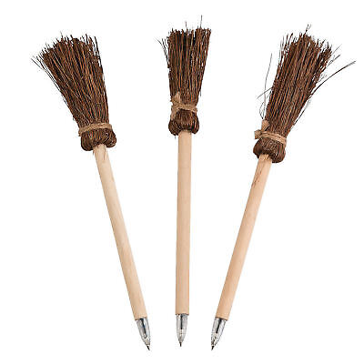 12 Witch's Broom Ink Pens Wooden Halloween Party Favors Prizes  - Halloween Prizes