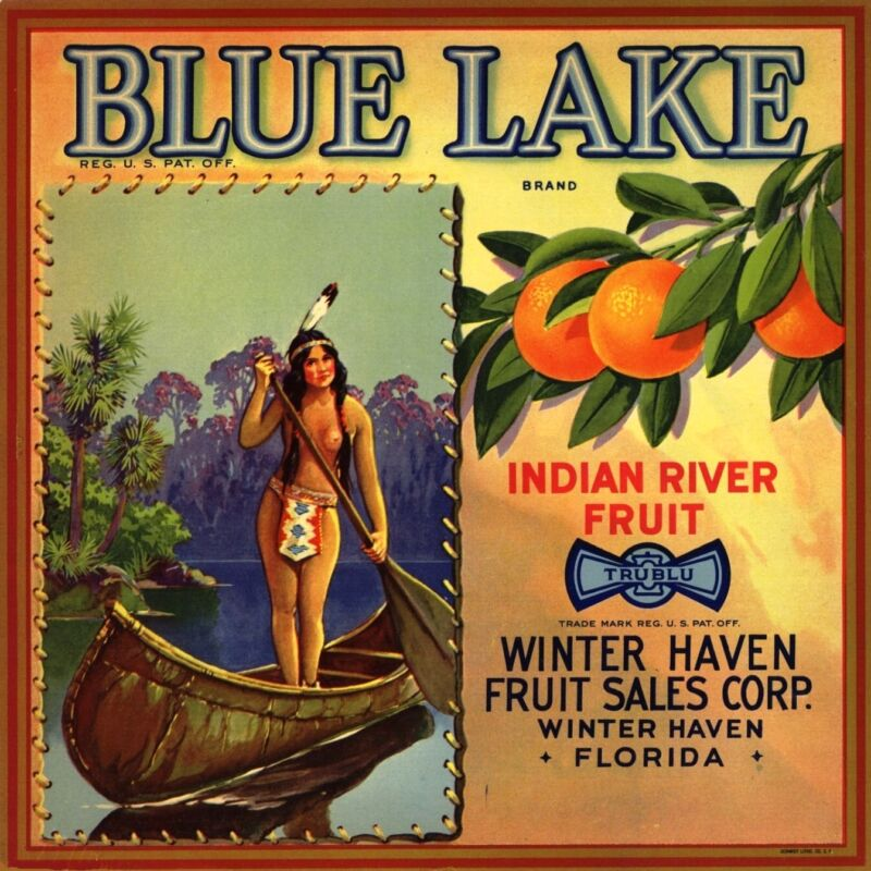 Winter Haven Florida Blue Lake Orange Citrus Fruit Crate Label Vintage Art Print