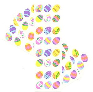 LOT Mrs. Grossman Easter Stickers - TINY DECORATED EGGS - 3 STRIPS