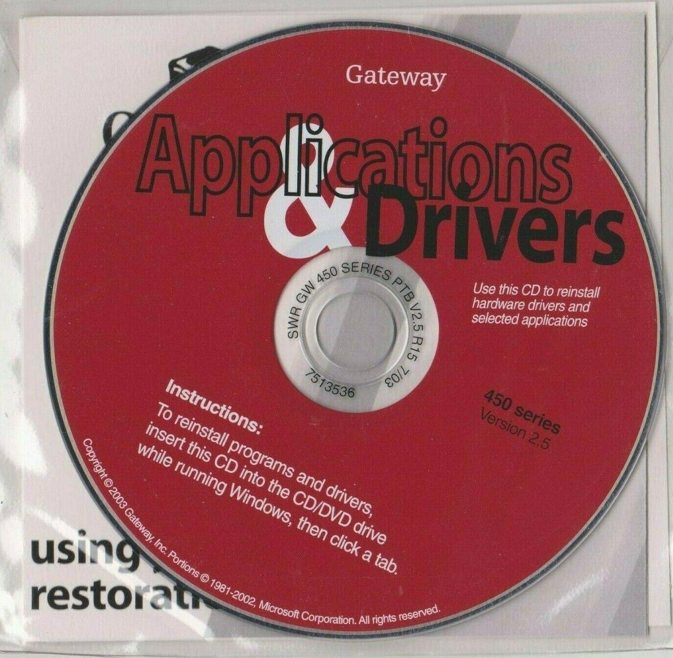 Gateway Application & Drivers 450 Series CD V2.5 7513536 Sealed