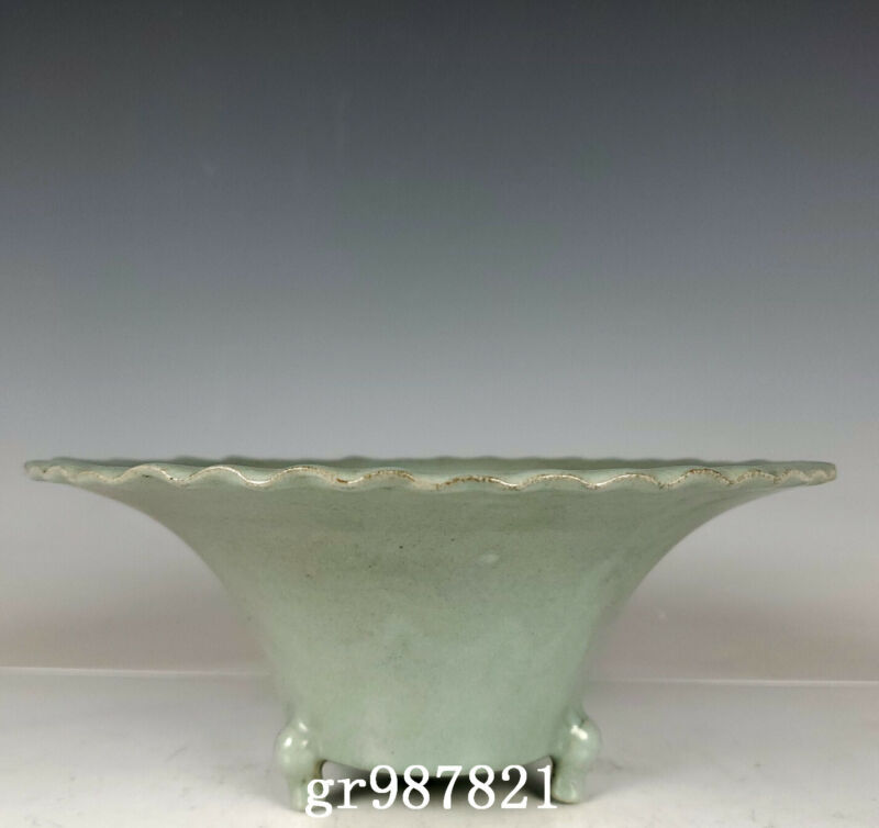 "7.9"" Antique Porcelain Song dynasty ru kiln mark cyan glaze lace Brush Washer"