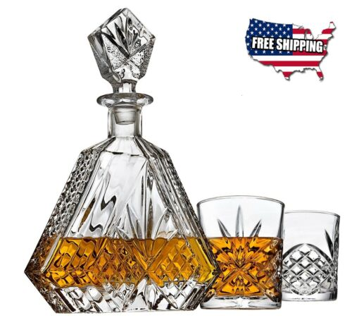 Whiskey Decanter set for Liquor Scotch Bourbon or Wine With 2 DOF whisky glasses