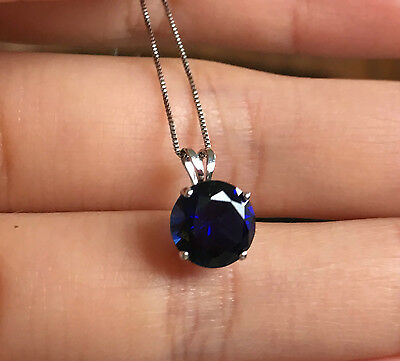 10k White Gold 8mm Blue Sapphire Solitaire Pendant Box Chain Necklace - White Gold 8mm Box Chain