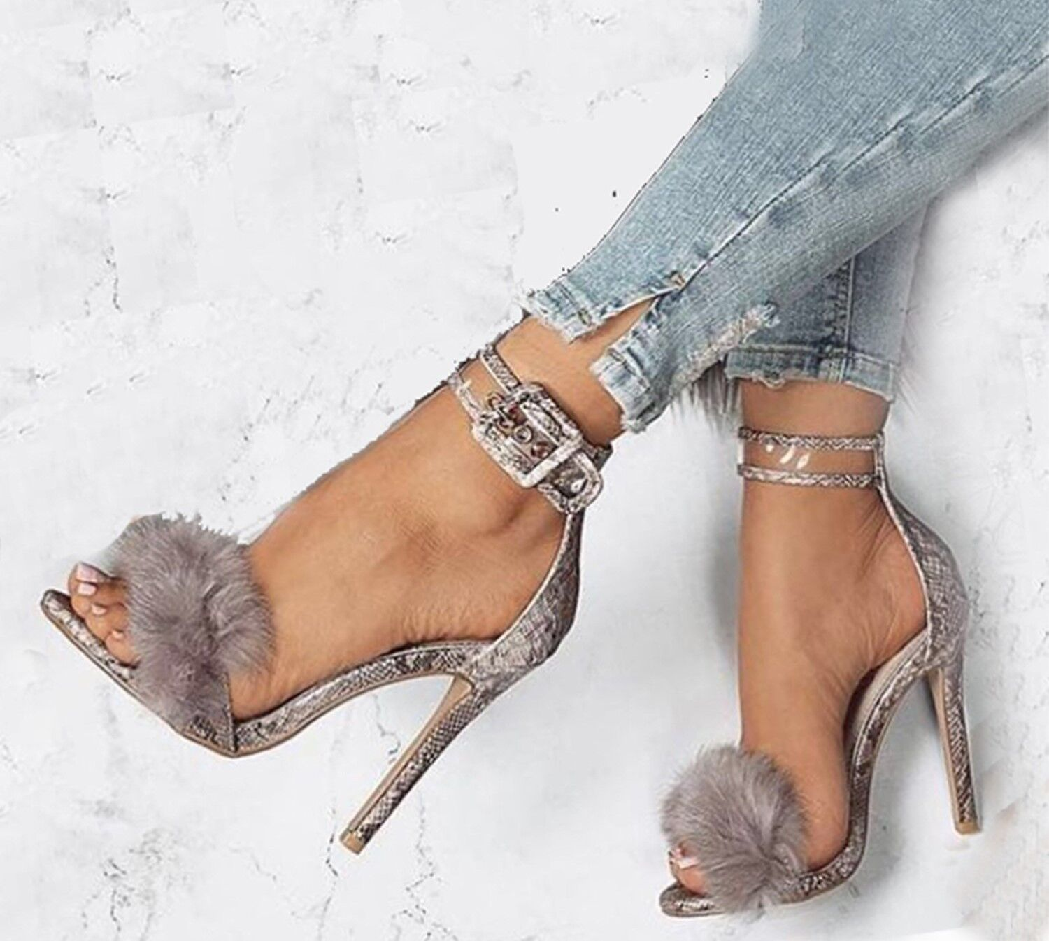 490d31dd965 Women Slim High Heels Faux Fur Sandals Buckle Peep Toe Party Summer Shoes  Prom