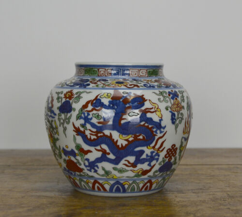 Fine Chinese Ming Jiajing Style Wucai Dragon Porcelain Water Pot