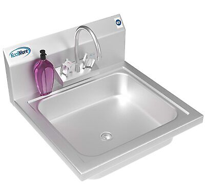 Koolmore Nsf Stainless Steel Commercial Hand Sink With Goosneck Faucet 17 X 15