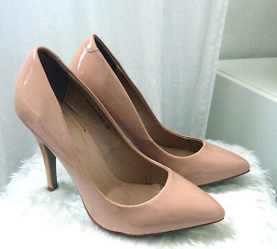 NEU ASOS SHINE Pointed Cour Stilettos High Heels Pumps Patent Lack Nude 36  Patent Stiletto Pump