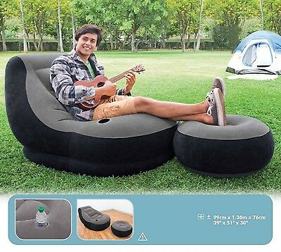 Large Video Gaming Chair Inflatable Intex Ultra Lounge Ottoman Seat Bean Bag ()