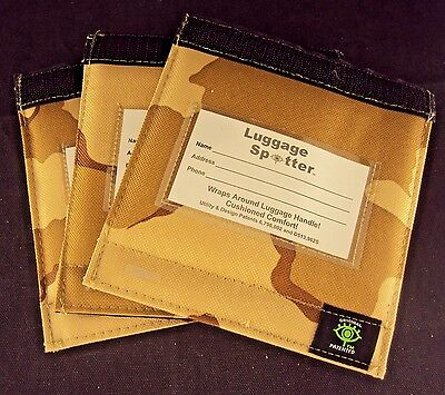 Luggage Spotter Tag - Luggage Spotter ~ Lot of 3, Suitcase Handle Wrap ID Tags, Brown Camo Pattern