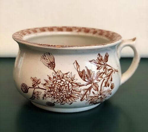 Antique English Stoneware Chamber Pot TW & Son Brown Transferware CHRYSANTHEMUM