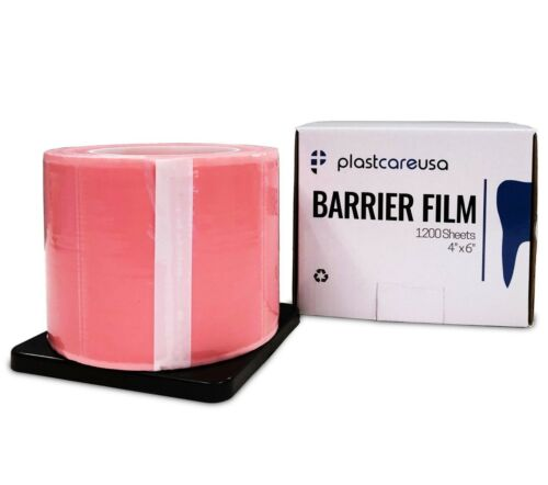 "Pink Barrier Film Tape, Dental, Adhesive Lab 1200 4"" x 6"" (Case of 8 Rolls)"