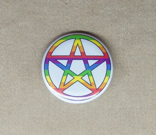 """Rainbow Pentagram 1.25"""" Button Pinback Badge Pagan Wicca Witch Occult Star LGBT"""