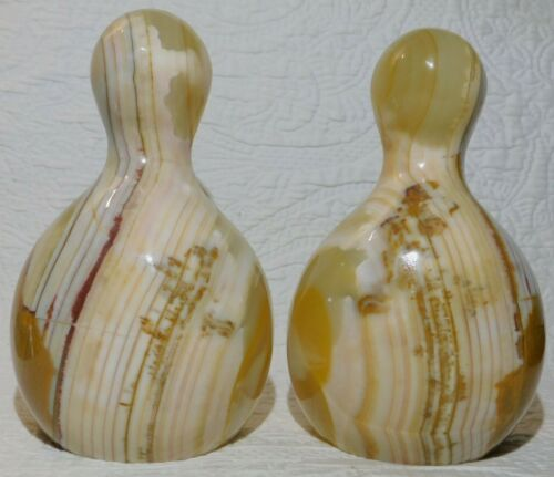 Vintage pair Bowling Pin DUCKPIN ONYX Bookends 6.5""