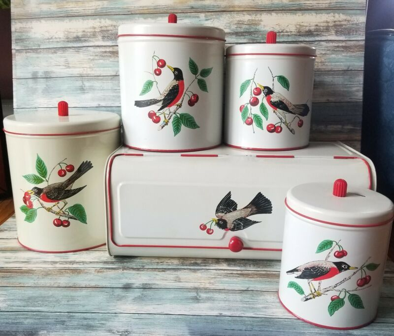 Vintage 1950s Maid of Honor Metal Canister Set Bread Box Robin Bird Cherries