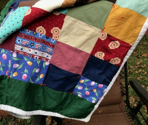 HEAVYWEIGHT, WARM HEAVY PATCHWORK, TIED HANDMADE QUILT, COLORFUL,GOOD PIECE