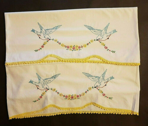 Vintage Embroidered Pillowcases Bluebirds Flowers Crocheted Edge Set Of 2