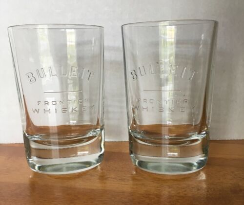 Bulleit Bourbon Set Of 2 Embossed Frontier Whiskey Oval Weighted Glasses