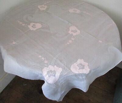VINTAGE TEA TIME TABLECLOTH WHITE ORGANDY PINK & GREY APPLIQUE  - FLORAL