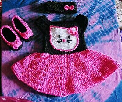 Hello Kitty Handmade Crochet baby dress set, shoes, headband 0-6 months