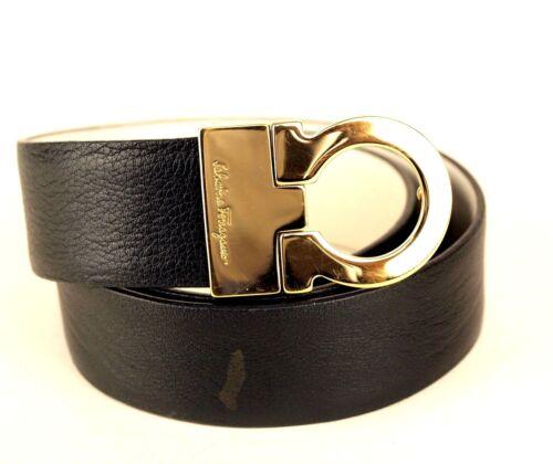 Auth SALVATORE FERRAGAMO Ganchini Gold Brass Buckle Ladies Waist Belt 74 CM Good