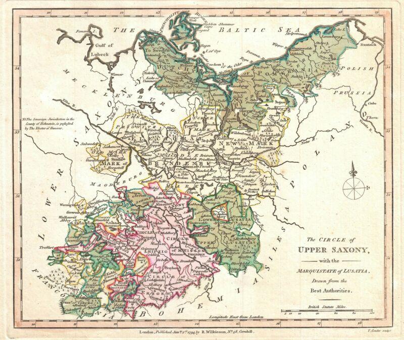 1794 Wilkinson Map of Upper Saxony, Germany