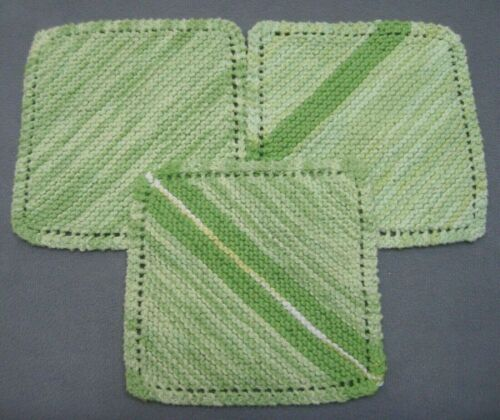Hand Knit 100% Cotton Dishcloths Lot of 3 Shades of Mint Green Variegated NEW