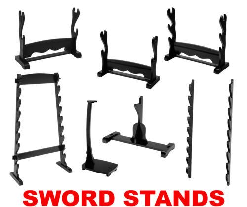 1 to 8 Swords Wooden Stand Display, Samurai Katana, Escrima, Sai, Mount Holder