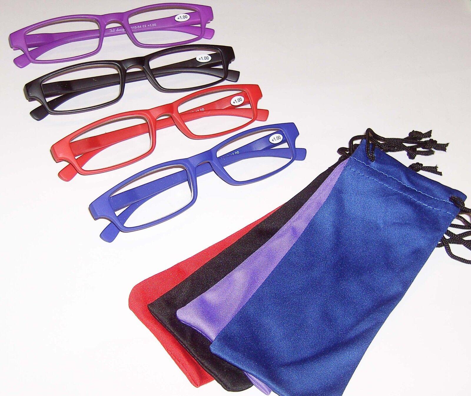 Lesebrille Lesehilfe Kunststoff matt plus Brillenetui mini Stärke +1,0 bis +3,0