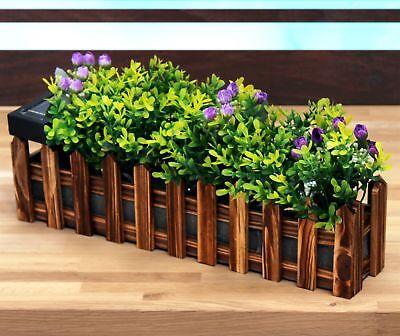 LED Solar-Blumenkasten Gartenzaun 36cm mit Kunstpflanzen Gartendeko Balkonkasten