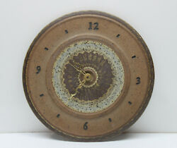 Hand Crafted Round Stoneware Earthenware Wall Clock - Signed - Quartz - Battery