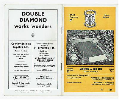 Watford v Hull City programme 10 November 1962