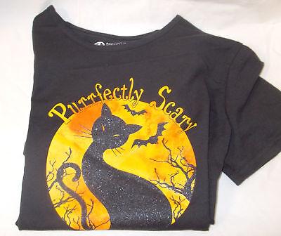 Halloween Black Cat Moon Bats Purrfectly Scary Short sleeve T-shirt Womens S M