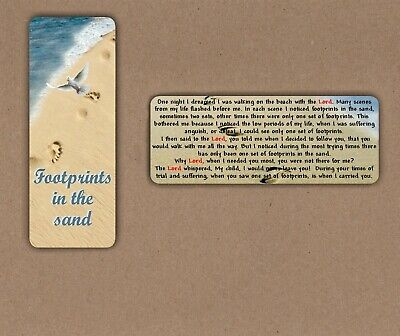 FOOTPRINTS IN THE SAND SMALL INSPIRATIONAL RELIGIOUS LAMINATED BOOKMARK