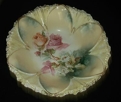 """VINTAGE RS Prussia 10.5"""" Master Berry Bowl, Roses & White Daisies, Marked, ExC"""