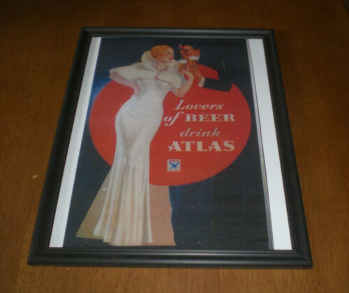 ATLAS LOVERS OF BEER FRAMED COLOR AD PRINT